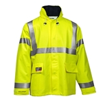 Flame Resistant Yellow Fluorsecent Rain Jacket ASTM F2733