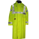 Flame Resistant Yellow Fluorescent Knee Length Rain Coat ASTM F2733